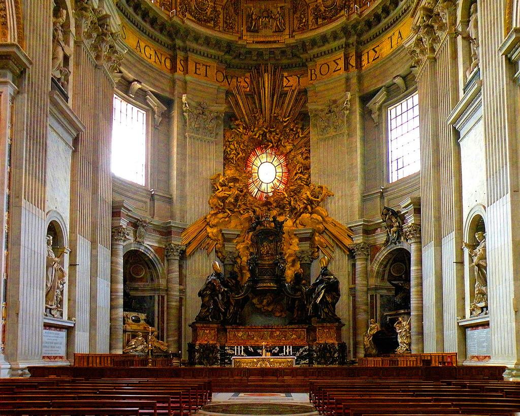 собор святого петра, базилика сан пьетро, главный алтарь ватикана, ватикан, соборы рима, базилики рима, достопримечательности рима