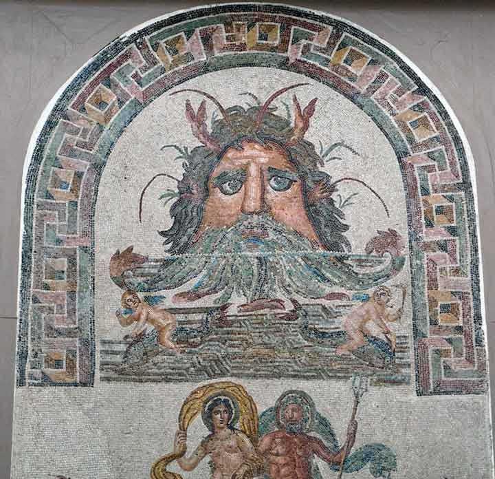 Древняя мозаика с изображением Океана древнегреческая мифология