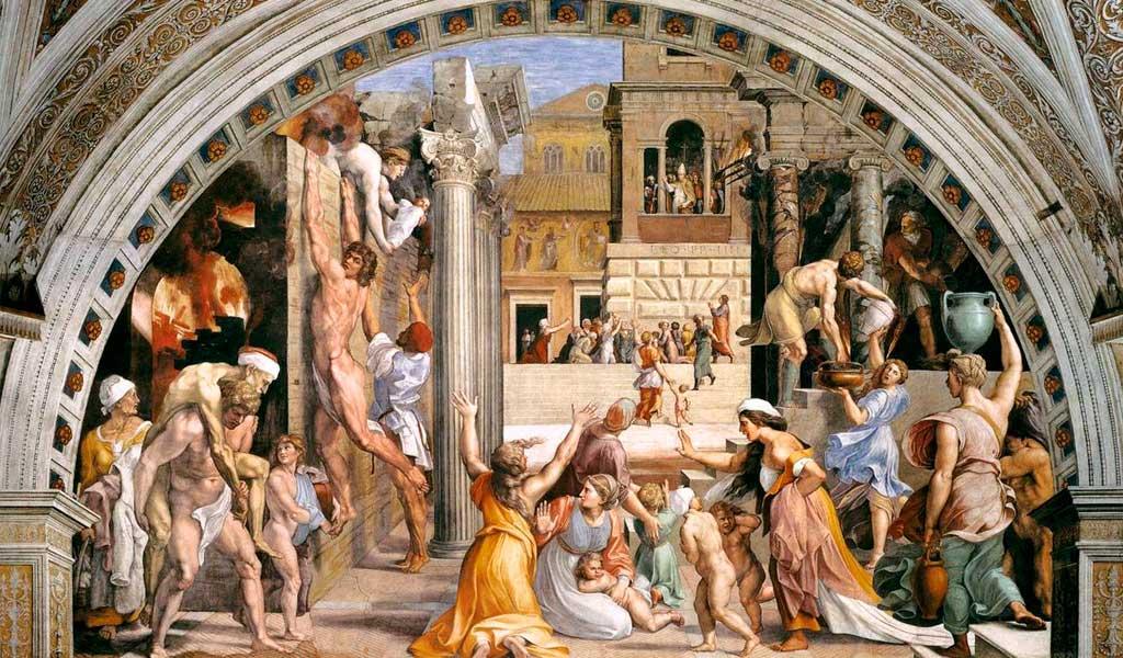 Ватикан Станцы Рафаэль Санти Рим Пожар Борго