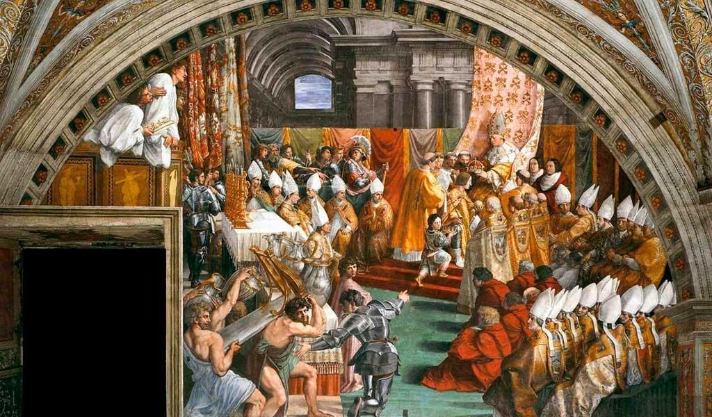 Ватикан Станцы Рафаэль Санти Рим Коронование Карла Великого