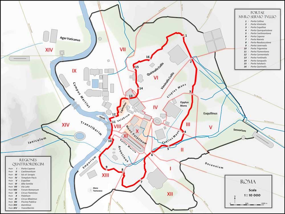 Аврелианова стена древний рим городские стены рима карте