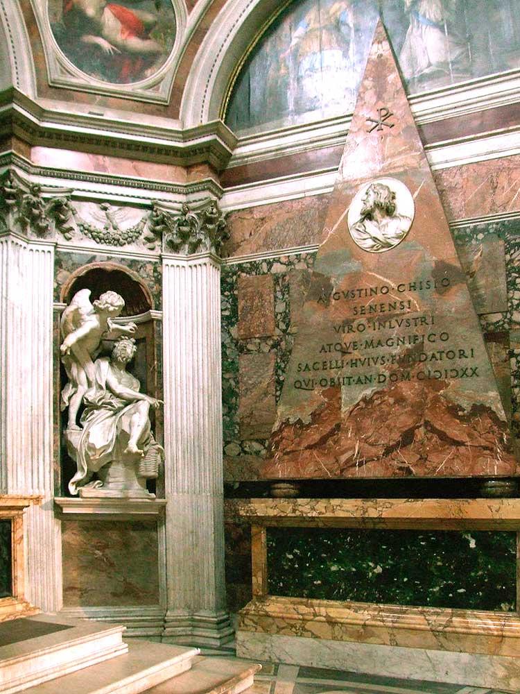 капелла каджи рим ангелы демоны базилика церковь санта мария дель пополо работы рафаель санти лоренцо бернини