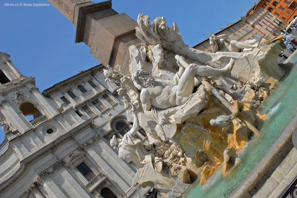 Фонтан Четырех Рек Лоренцо Бернини площадь Навона барокко эпоха возрождения скульптуры рима