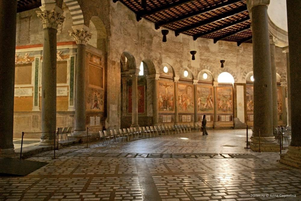 Собор святого стефана санто стефано ротонда целии рим древние первые ранне христианские храмы фрески помаранчо