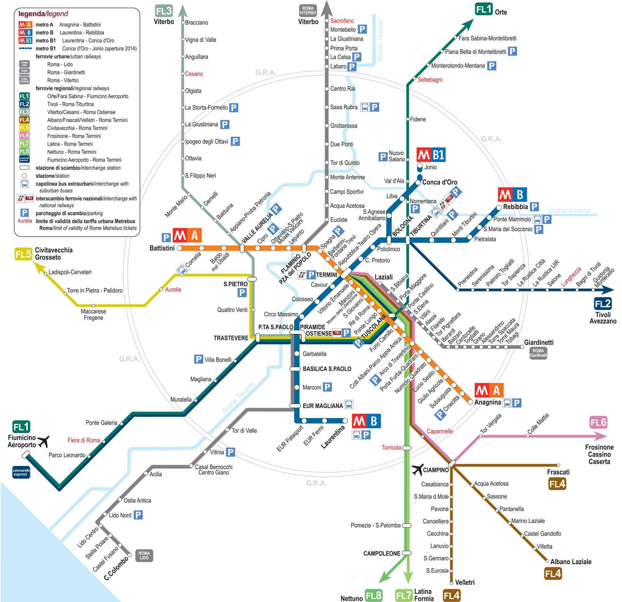 карта электричек рим, региональные поезда рим