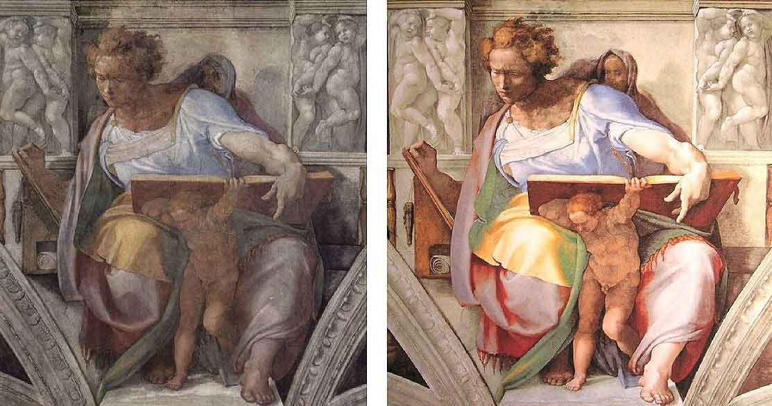 an essay on the restorations in the sistine chapel and its effects on michelangelos contributions It comes not from the windows of the chapel, as would have been customary in the illusionistic wall paintings of the fifteenth century.