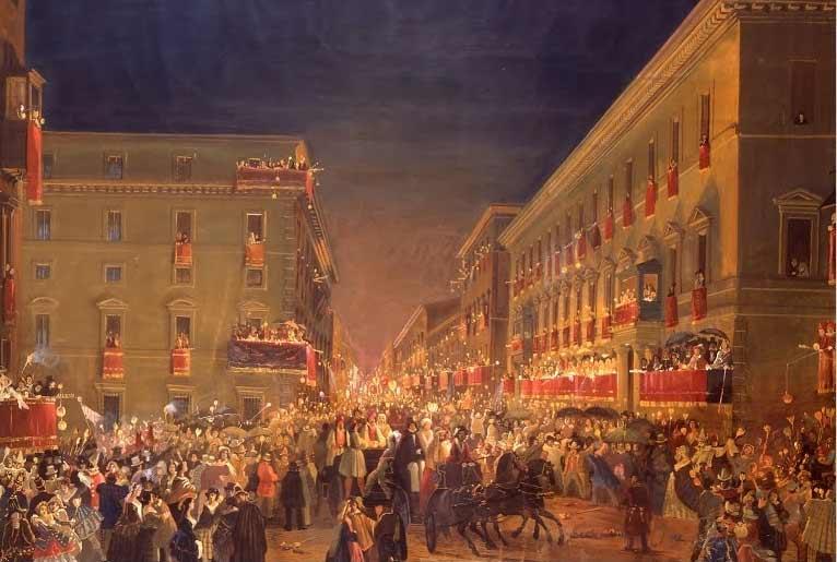 I moccoletti al Corso. Ippolito Caffi, 1850