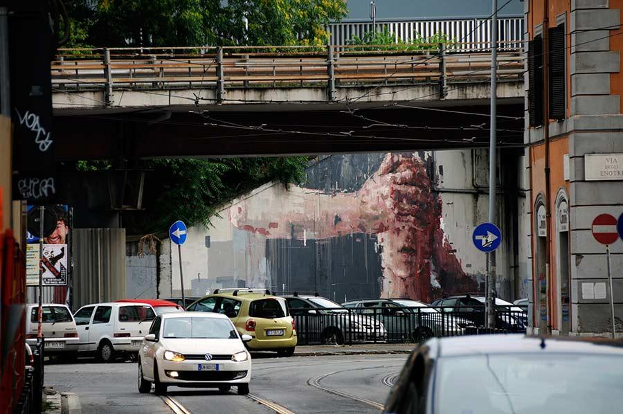 стрит арт Logout в Риме Остиензе