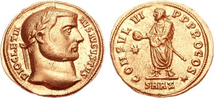 холотая римская монета времен империи ауреус диоклетиана
