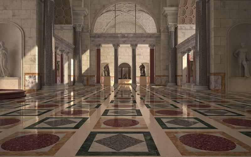 римские бани интерьер графическаяы реконструкция