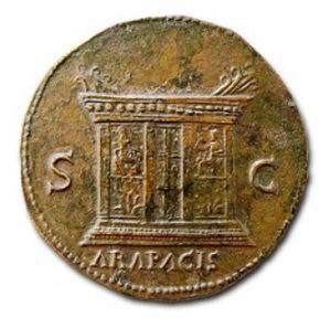 древнеримская монета монета, алтарь мира