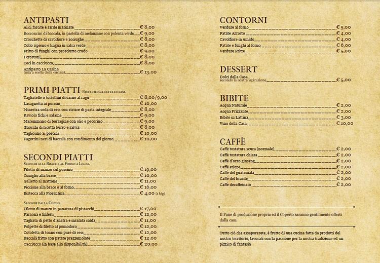 Итальянское меню, рестораны Италия, меню итальянского ресторана